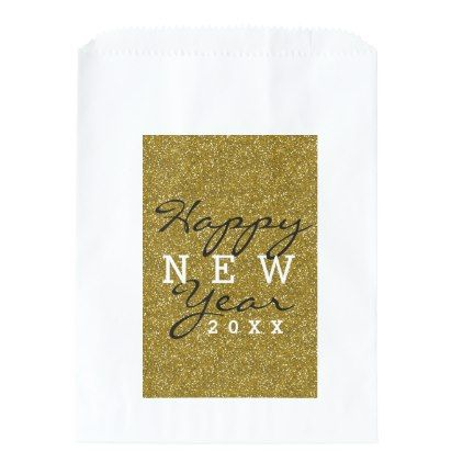 gold glitter happy new year favor bag new years happy new