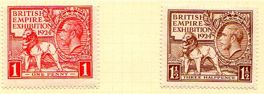 Description  GB British Empire Exhibition Postage Stamps 1924    Scanned from personal collection Jeff Knaggs 13:54, 24 Nov 2004 (UTC)    Date  2004-11-24 (original upload date)    Source  Originally from en.wikipedia; description page is/was here.    Author  Original uploader was Knaggs at en.wikipedia    Permission  (Reusing this file)  PD-STAMP.