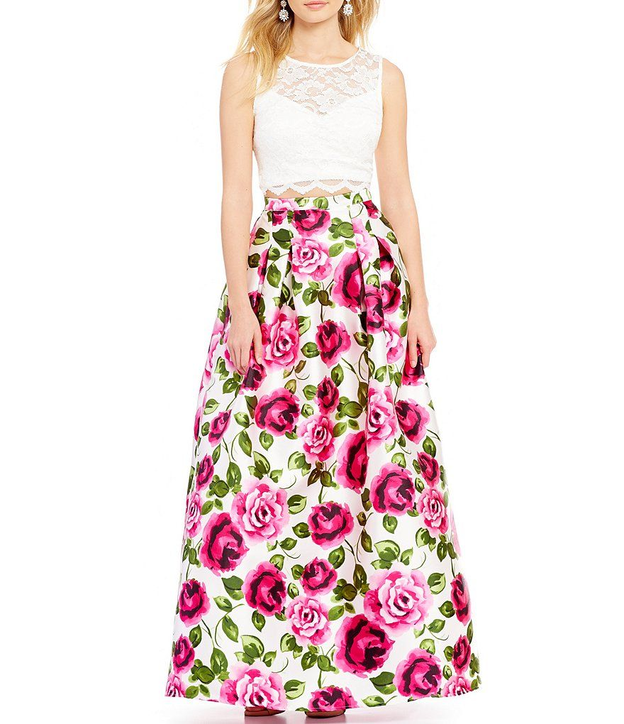 B. Darlin Sequin Lace Top Floral Print Skirt Two-Piece Ball Gown ...