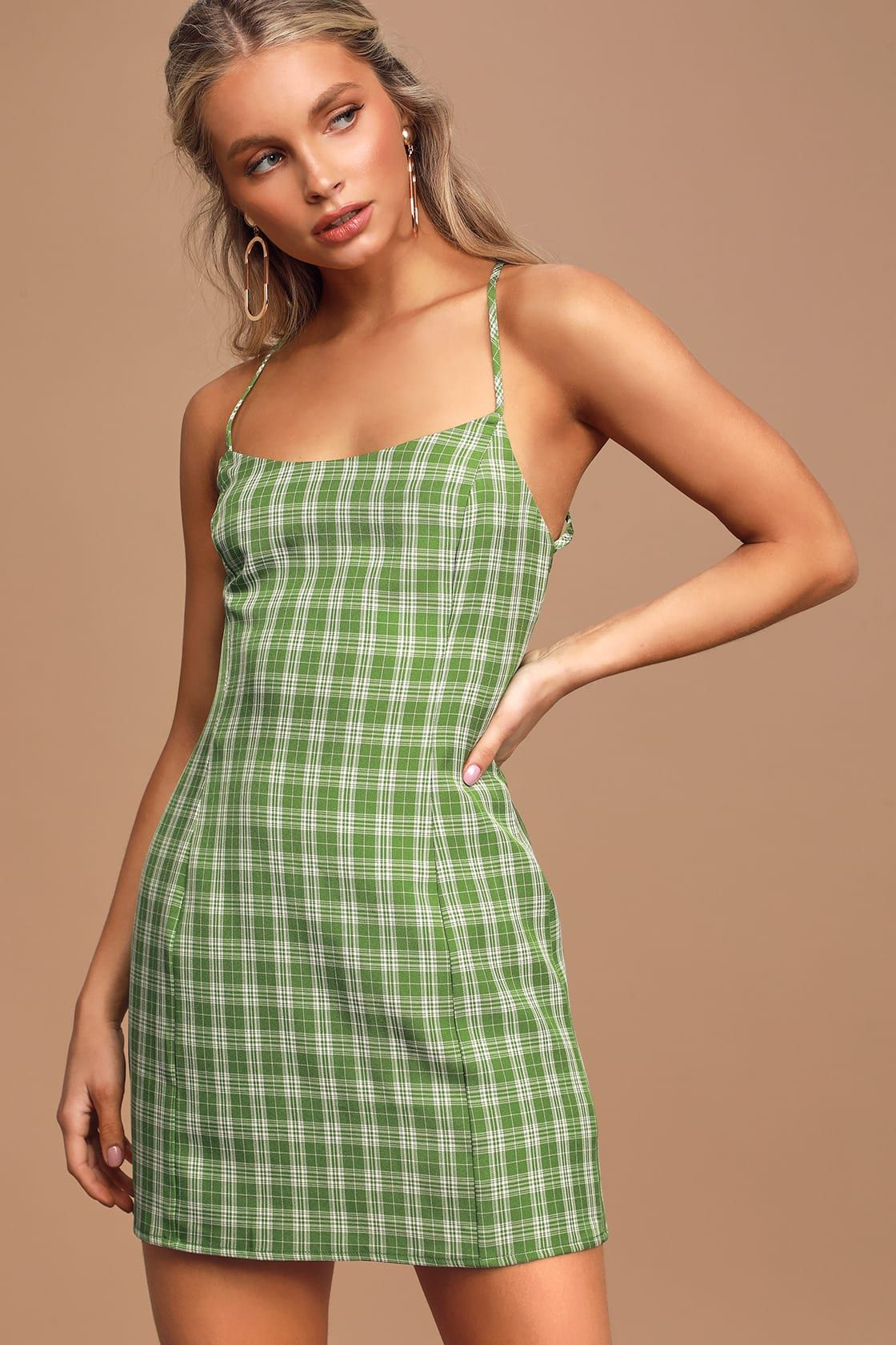 Plaid To Be Here Green Plaid Lace Up Backless Mini Dress In 2020 Mini Dress Backless Mini Dress Fashion Inspo Outfits [ 1680 x 1120 Pixel ]