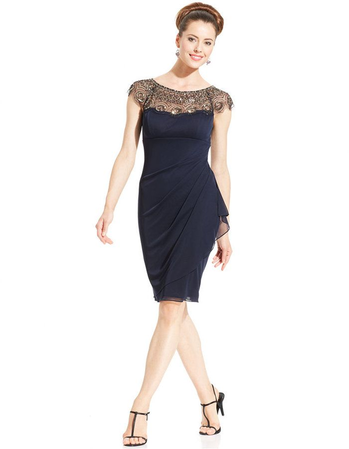Xscape Evenings Cap-Sleeve Illusion Beaded Dress on shopstyle.com ...