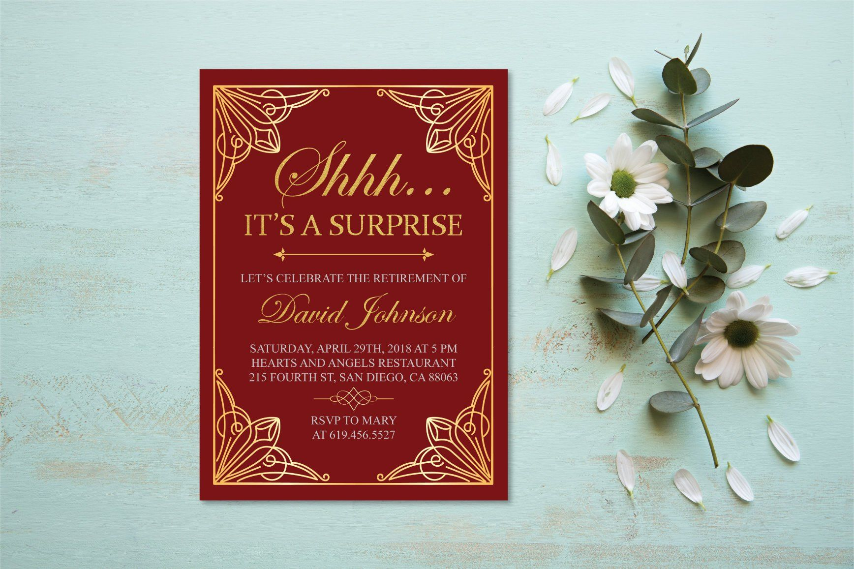 shhh it s a surprise retirement invitation printable gold burgundy