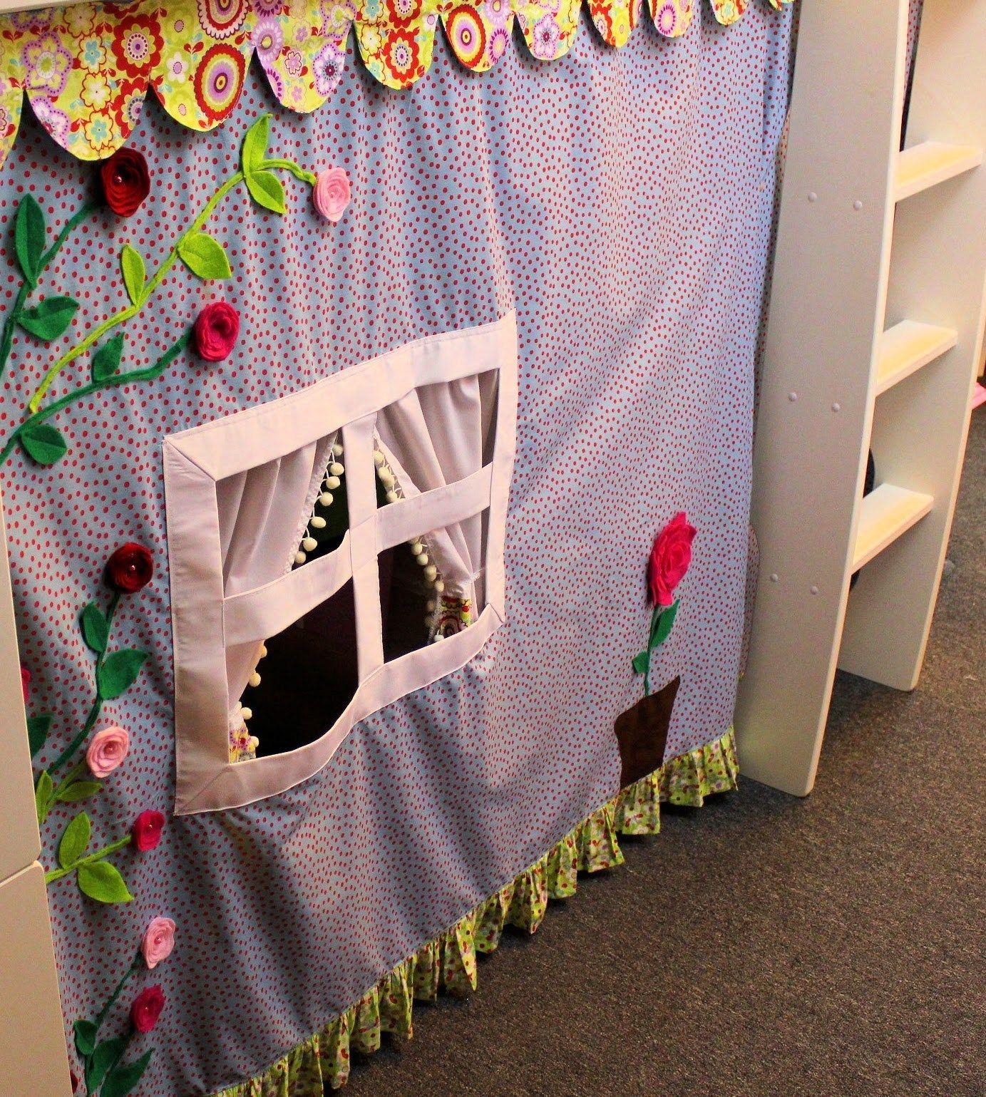 verkleidung aus stoff f rs hochbett pinterest h hle hochbetten und selber n hen. Black Bedroom Furniture Sets. Home Design Ideas