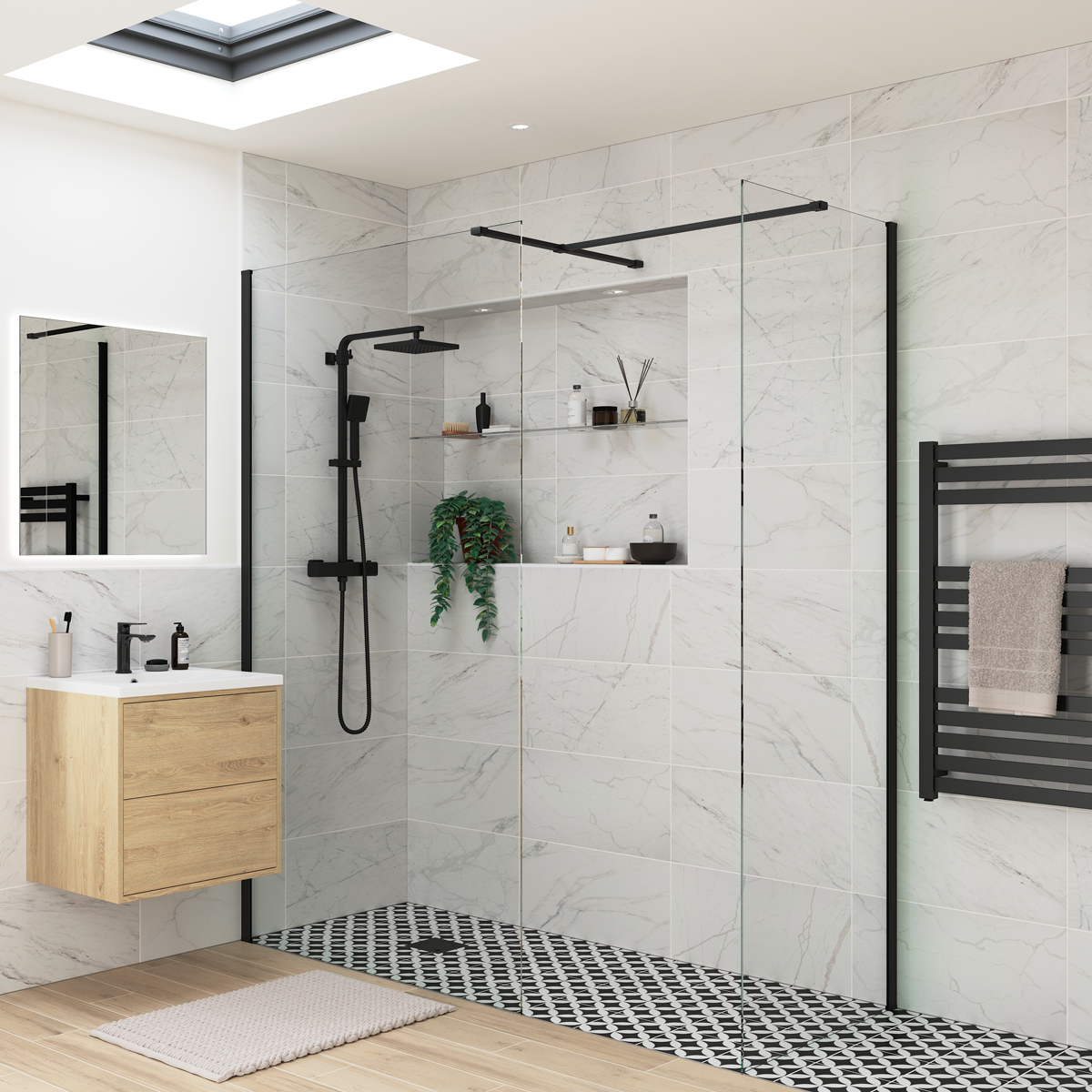 NEW ARRIVAL... RefleXion 8 Black Wet Room Shower Enclosure with Optional Side Panel ⠀