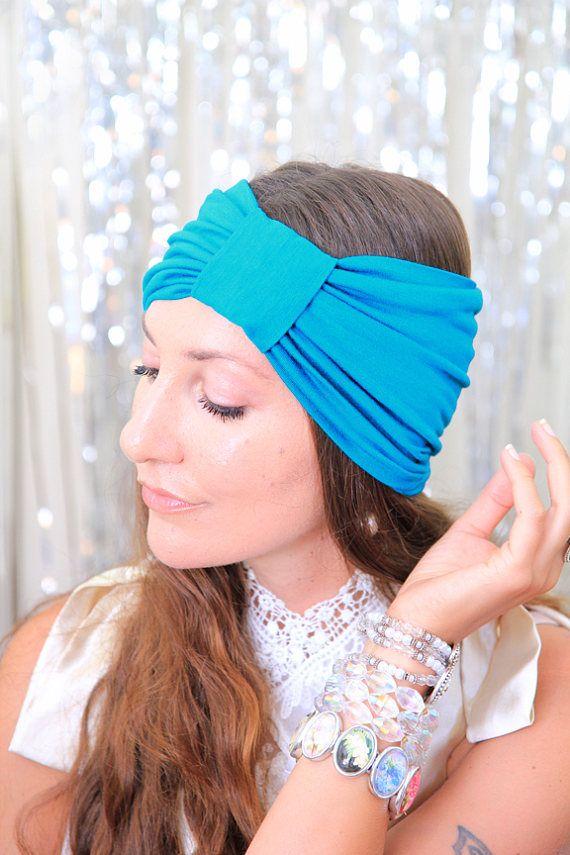 0abf8d8b187 Turban Headband - Women s Hair Band in Teal Jersey Knit - Boho Style ...