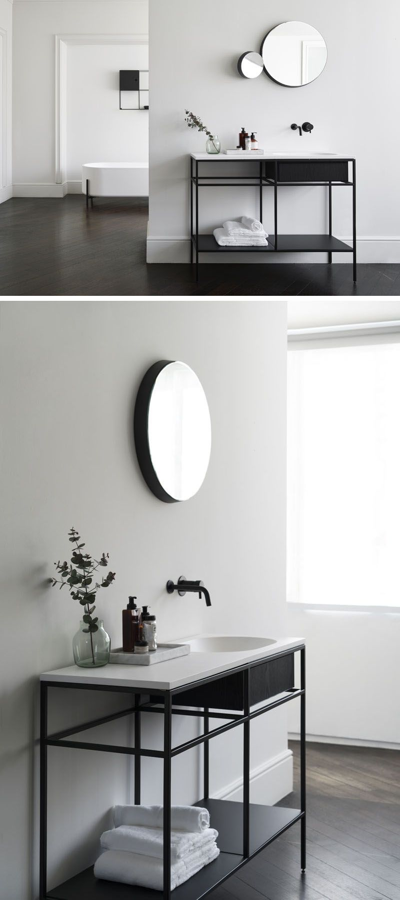 Norm architects have designed a collection of minimalist bathroom consoles