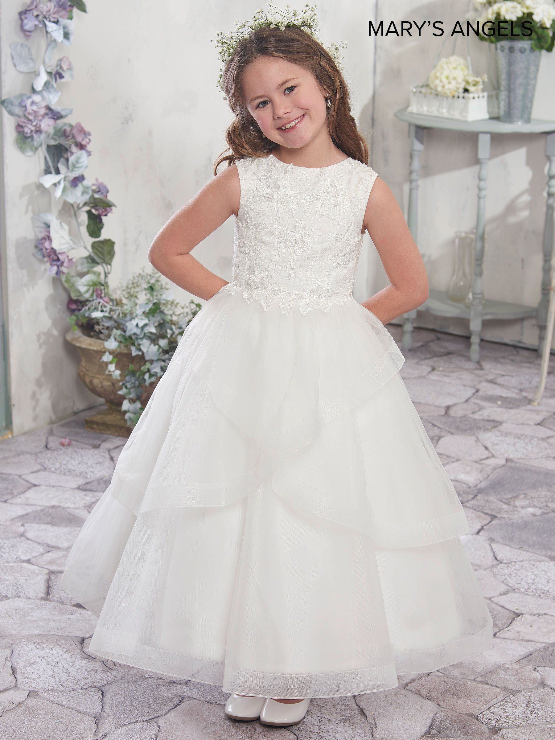Long flower girl dress with tiered skirt by maryus bridal mb
