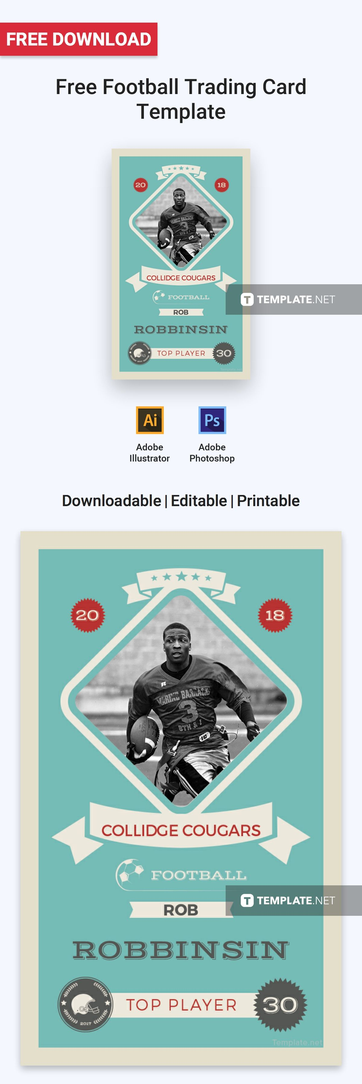 Free Football Trading Card Template Word Doc Psd Apple Mac Pages Illustrator Publisher Trading Card Template Football Trading Cards Cards