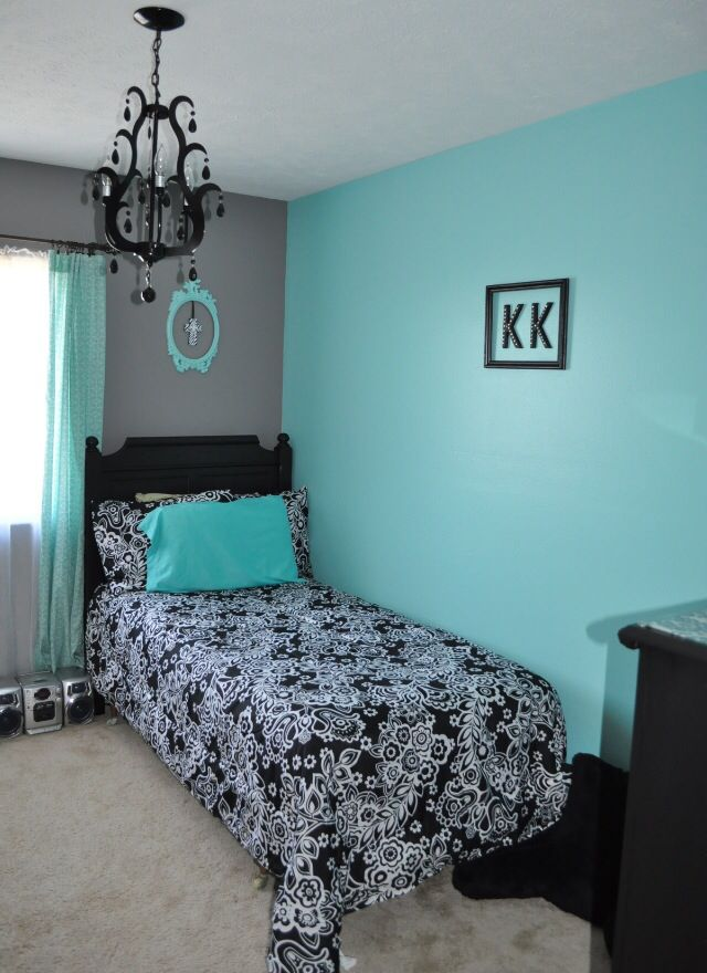 Black White And Aqua Bedroom. Dark Grey And Teal Bedroom. Of Course A  Larger Bed But This Is Lovely!