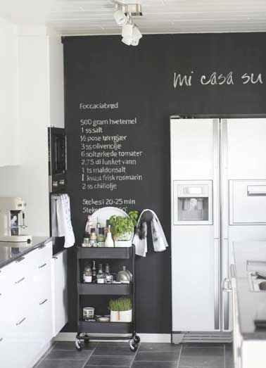 une cuisine blanche color e d une peinture tableau noir cuisines kitchens pinterest. Black Bedroom Furniture Sets. Home Design Ideas