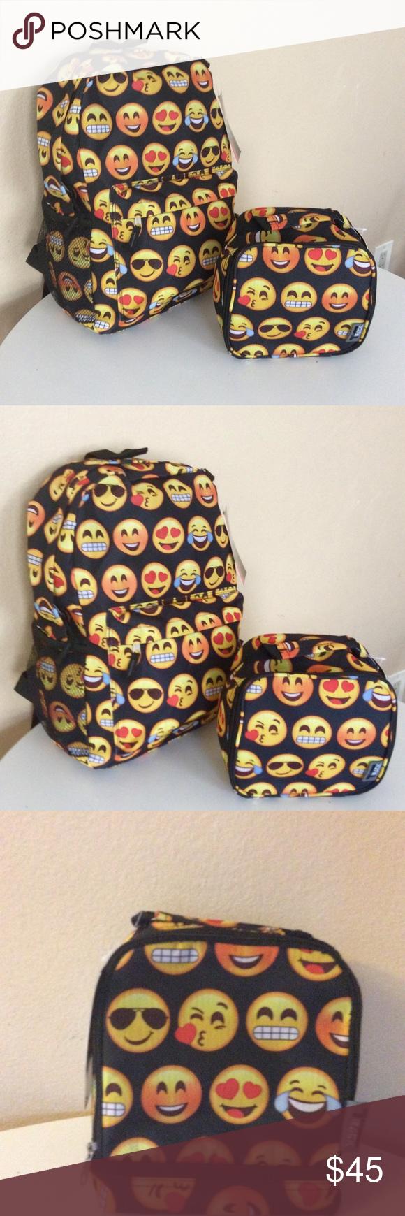 e02c114fff94 BLACK EMOJI SCHOOL BACKPACK LUNCH BOX SET -free 🎁 Brand New Black emoji  backpack with