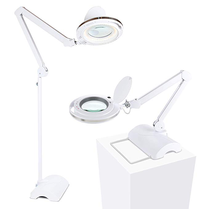 Amazon Com Brightech Lightview Pro 2 In 1 Magnifying Glass Led Reading Lamp Converts From Table To Floor Lamp Real Diop Lamp Reading Lamp Glass Desk Lamps