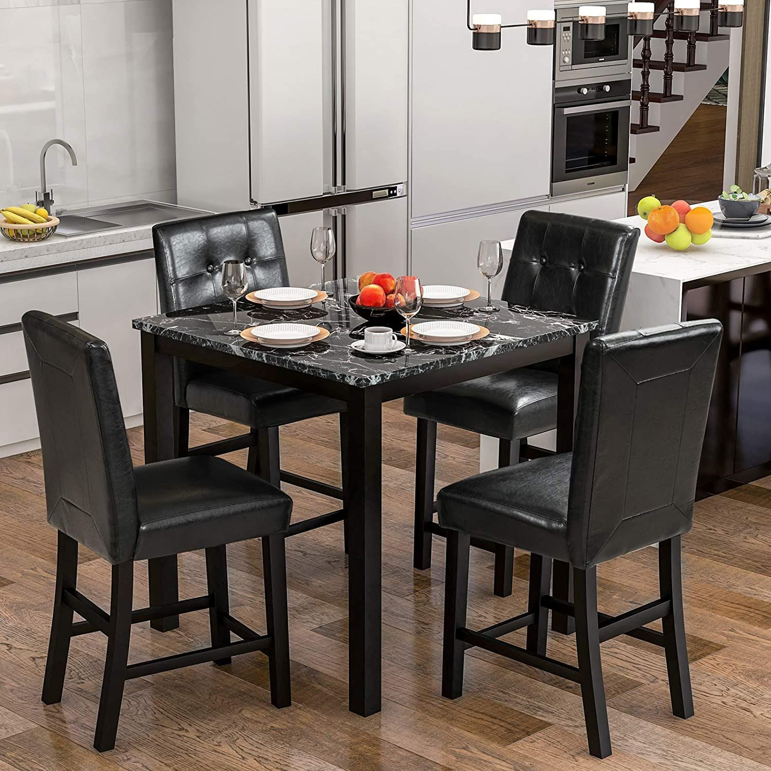 5 Piece Dining Table Set With Faux Marble Top 4 Upholstered Leather Chairs For In 2021 Counter Height Dining Sets Kitchen Table Settings Counter Height Dining Table