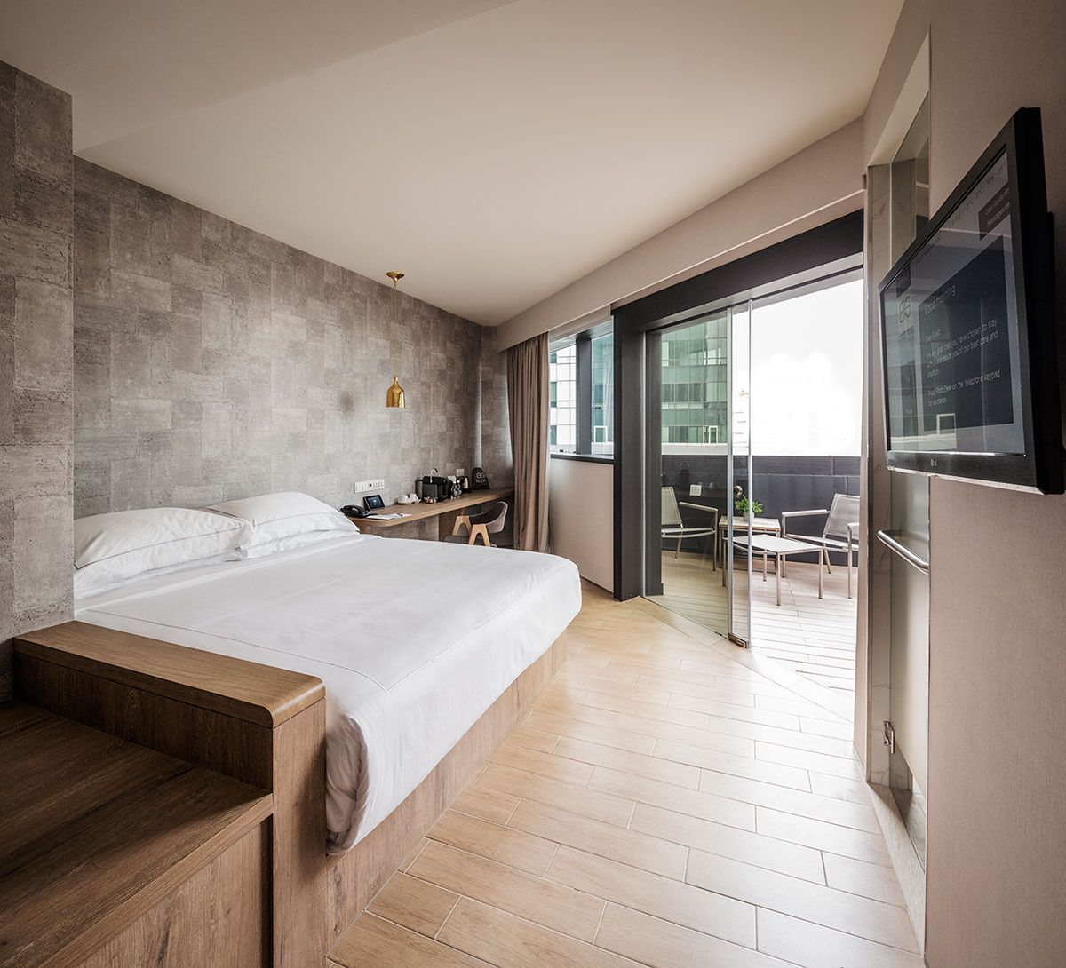 Singapore big hotel interior neutral and cool tones new crib pinterest singapore - Best bedroom with balcony interior ...