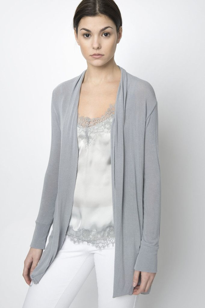 086871f0967622 Via Strozzi Light Grey Summer Cardigan An ideal staple for you Spring and  Summer wardrobe. This lightweight extremely soft cardigan drapes loosely  along ...