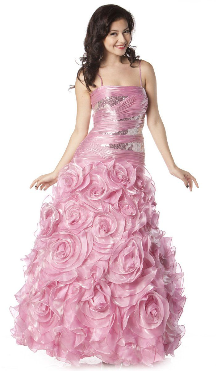 Poofy Pink Cinderella Dress Flowers Sequins Long Spaghetti Strap ...