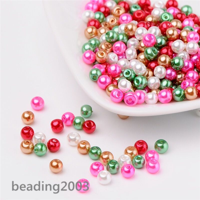 400  Mixed Glass Faux Pearls 4mm Pastel Shades  Jewellery making