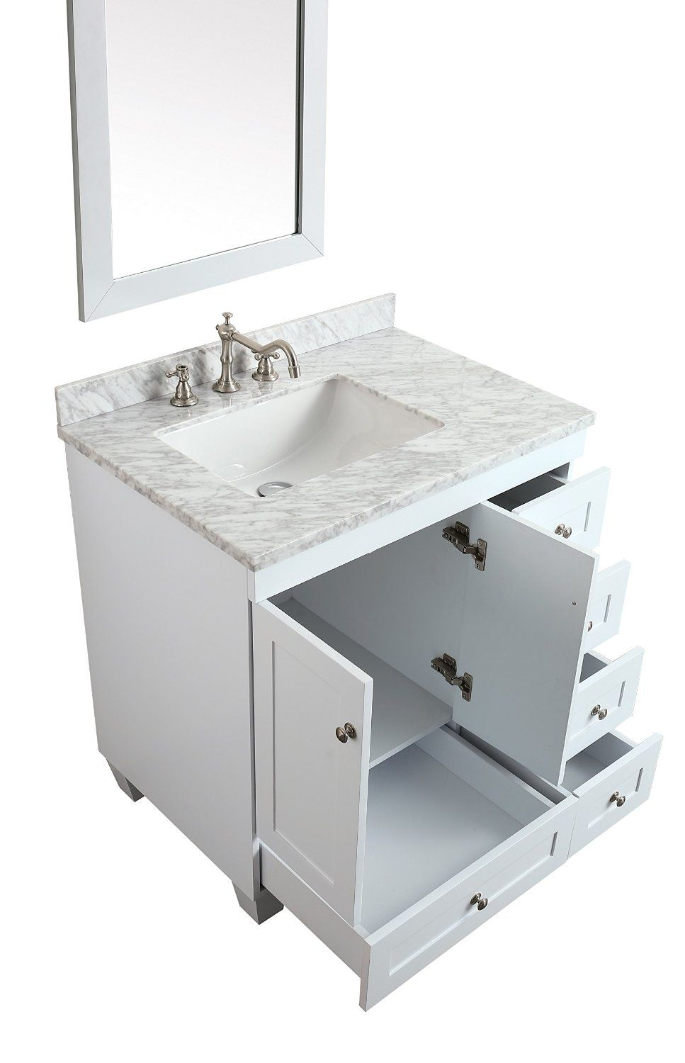 Eviva Evvn69 30wh Acclaim C 30 Inch Transitional White Bathroom Vanity Countrtop Material Carrera Marble Sink Installation Type Undermount
