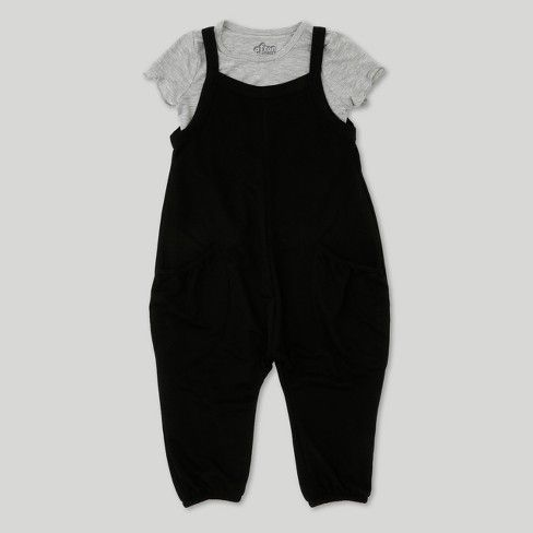 618100b87f4 Toddler Girls  Afton Street French Terry Overall Set - Black White   Target