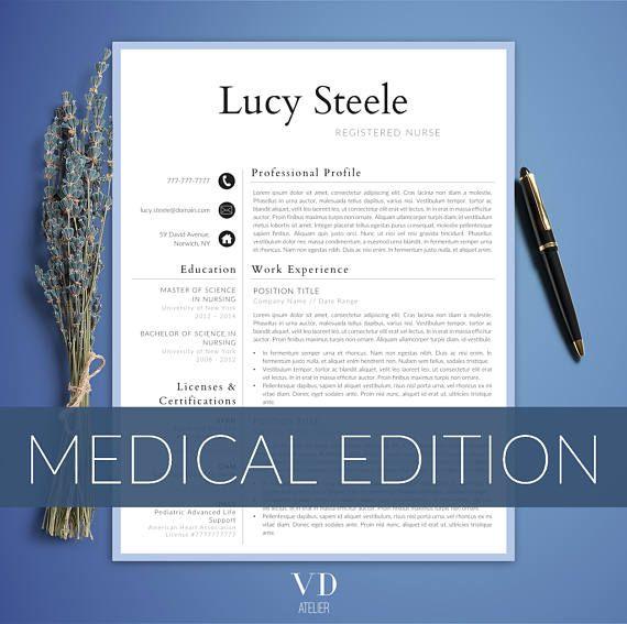 Nurse Resume Template 5 Pages Nursing Resume Template Etsy Nursing Resume Template Medical Resume Nursing Resume