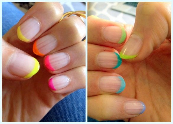 Neons + Nail Art = Neon French Manicure | The Beauty Bean - Beauty ...