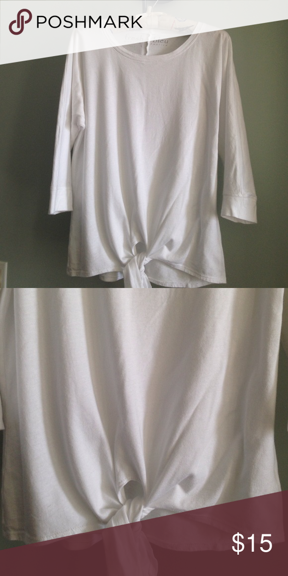 """FRESH BLEU Tee Details - White 3/4 Sleeve Tee - Ties at Waist (Has one slight repair near tie seem) - Seem down center of back - Size L -  Approx. 24"""" from Top to Bottom of Hem; 23"""" Pit to Pit - In Excellent Condition; Made in USA  Fiber Content; 50% Cotton, 50% Modal Fresh Bleu Tops Tees - Long Sleeve"""