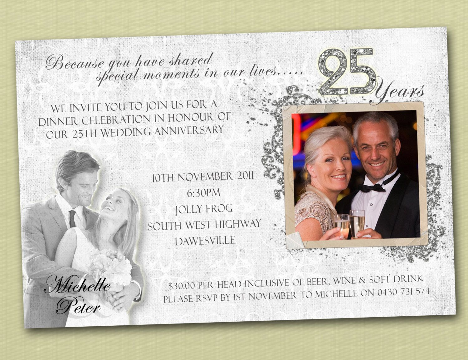 25th Wedding Anniversary Invitations Wording | Photo Personalised ...