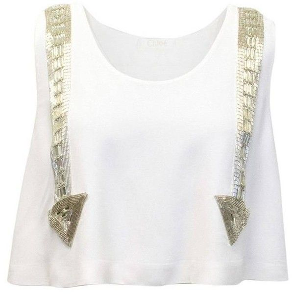 Preowned Chloe White Beaded Arrow Top 557 Liked On Polyvore Featuring Tops Crop Tops White White Beaded Top Beaded Crop Top White Crop Top White Beads