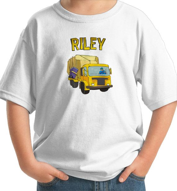 Yellow garbage truck personalized with name by CustomTeesForTots, $16.00