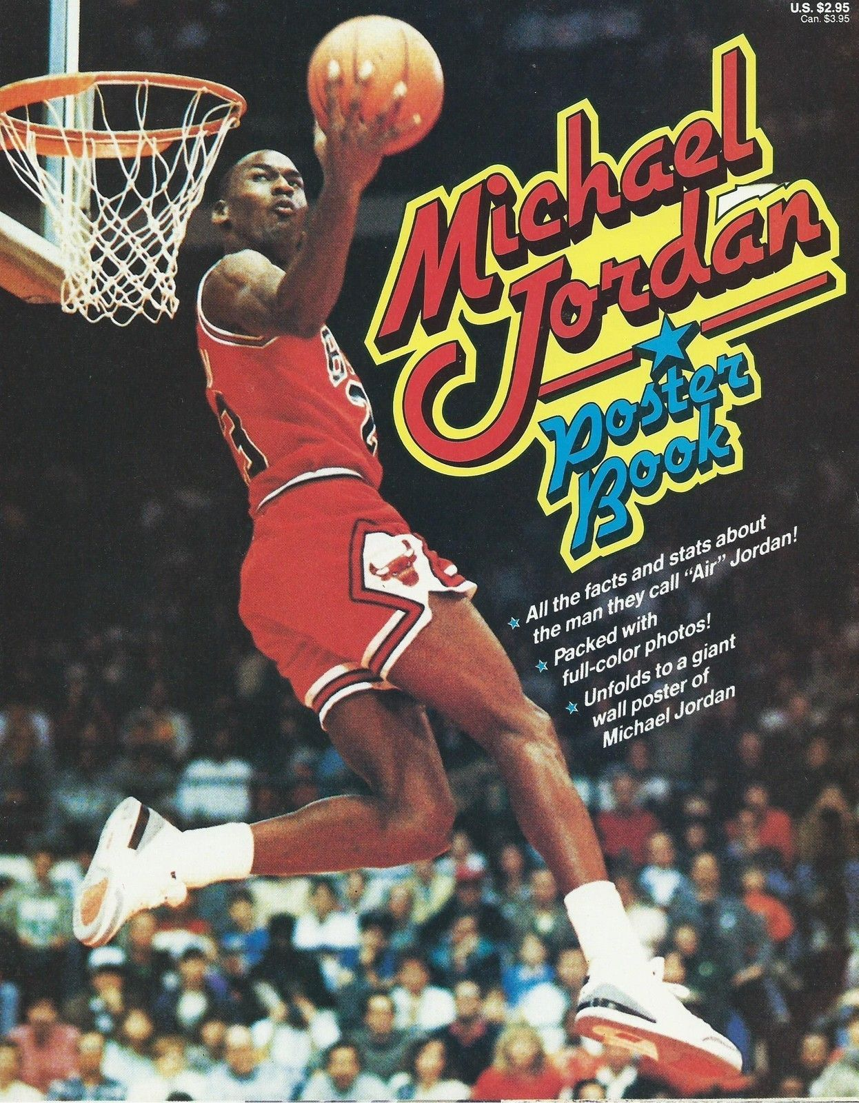 michael jordan poster book rare 8 pages 22x34 wall dunk bull