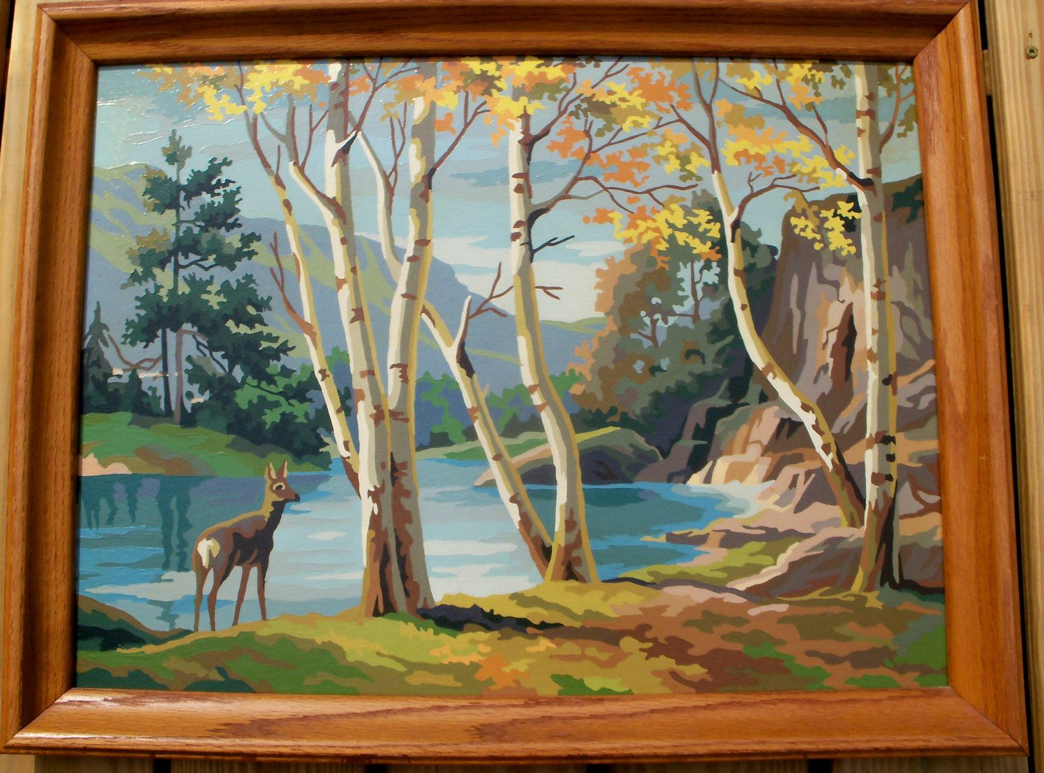 Very Large Vintage Paint By Number Framed Fall Scene Doe At Deer Lake Free Shipping 72 00 Via Etsy Vintage Painting Large Painting Painting
