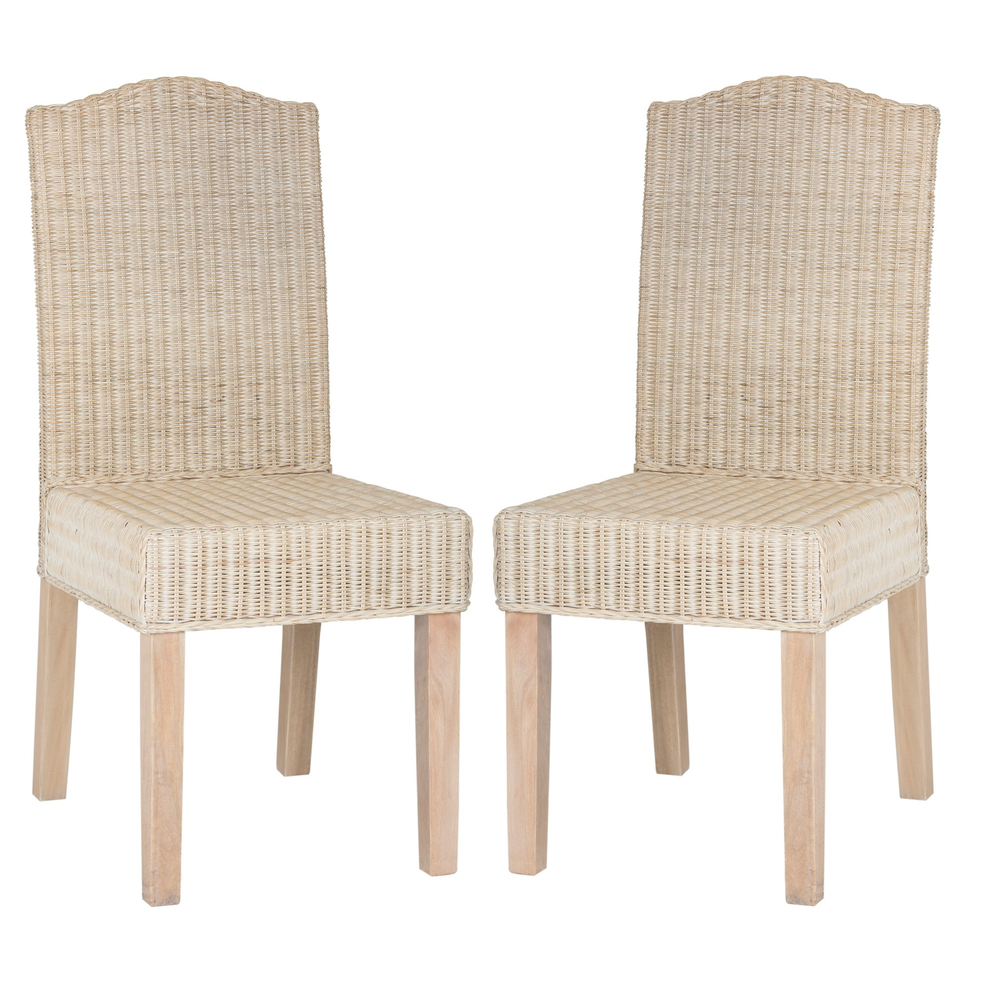 odette wicker dining chair white washed set of 2 safavieh