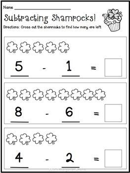 St Patrick S Day Quick And Easy Printable Math Worksheets Freebie Kindergarten Math Worksheets March Kindergarten Kindergarten Math