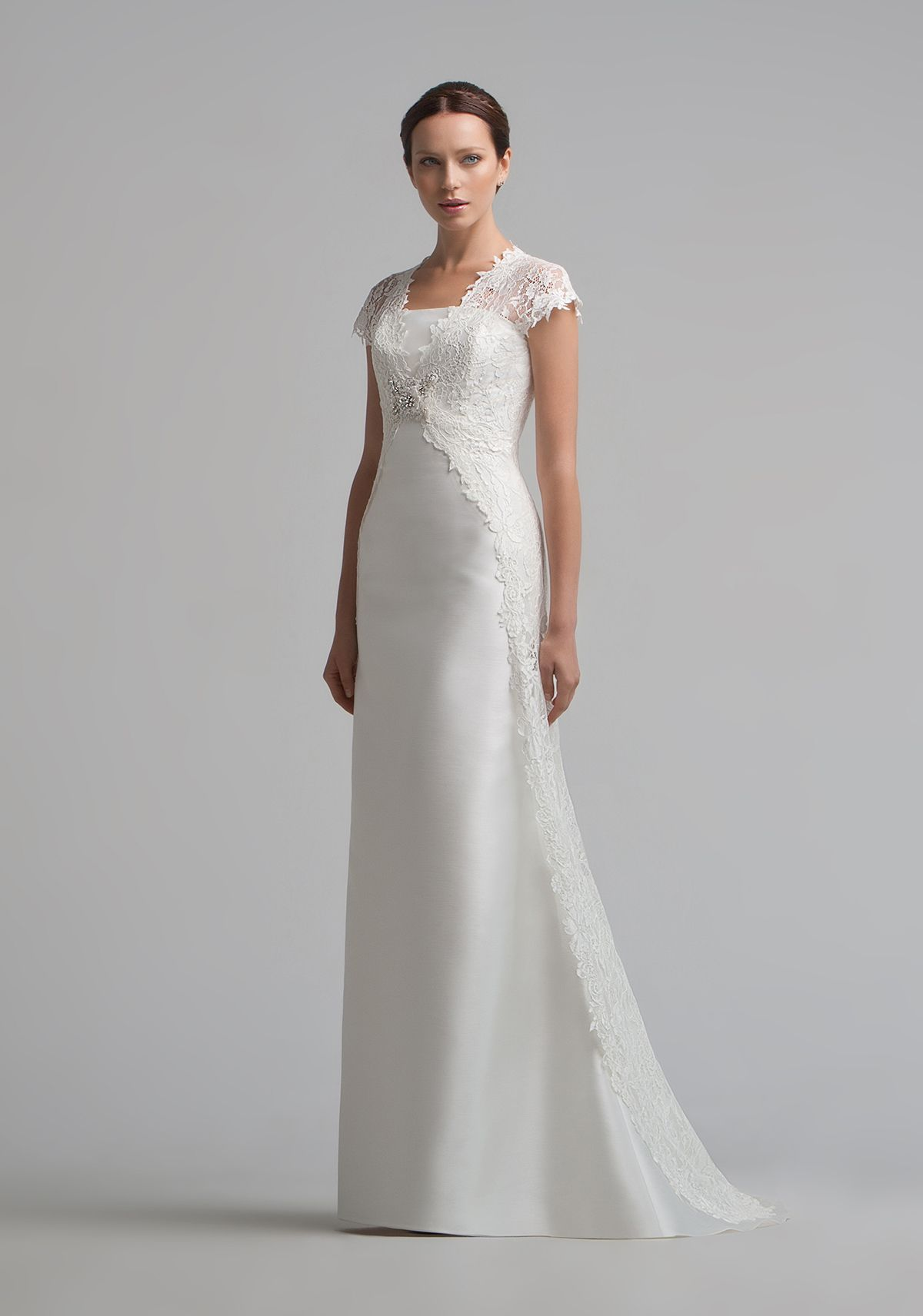c7740a85278 A Straight cut Satin Wedding Dress. Can be combined with a Bridal Bolero.  Bolero is sold separately.