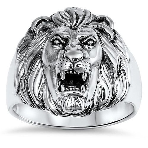 35e85f56bd Sterling Silver Lion Ring for Men JOSHUA 1:9 Courage Bible Verse ...