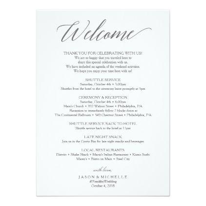 elegant script wedding itinerary wedding welcome program in 2018