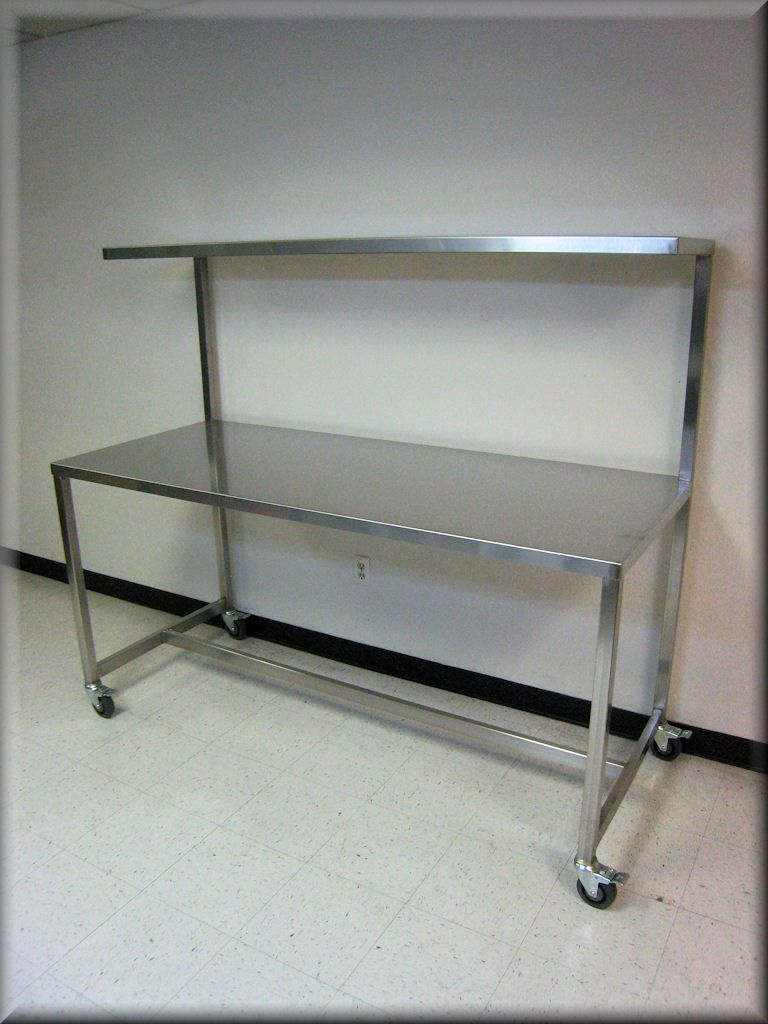 Stainless Steel Table With Upper Shelf Stainless Steel Work Bench - Large stainless steel work table