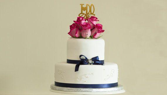 I DO Wedding Cake Topper Yellow Gold Rose By JuliesElegantCrafts