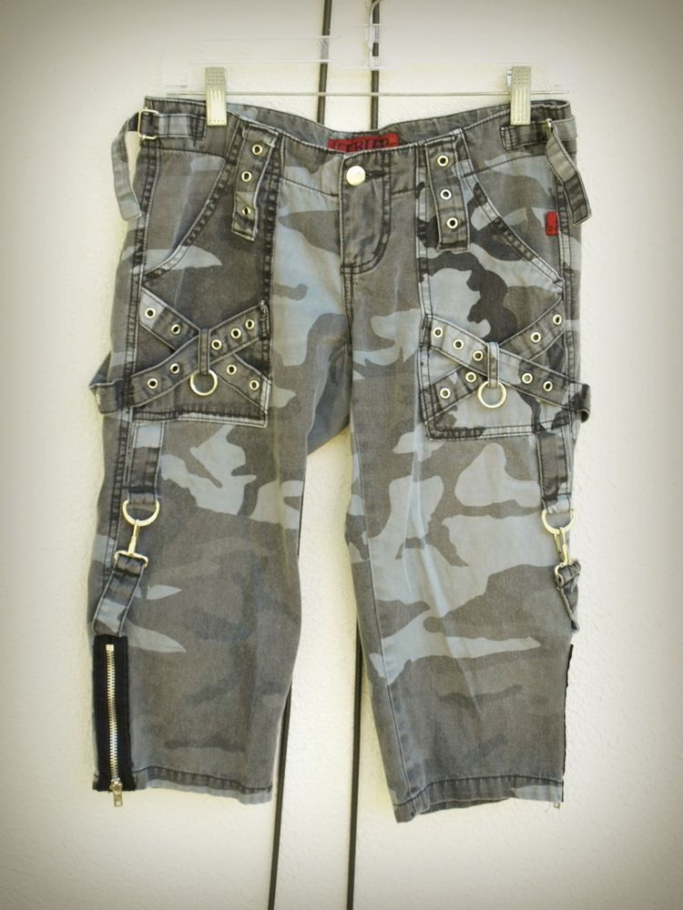 Tripp Crop Pants Camouflge Gothic Punk Eyelets Clasps D-Ring O-Ring Tabs Size 1 #TrippNYC #CaprisCropped
