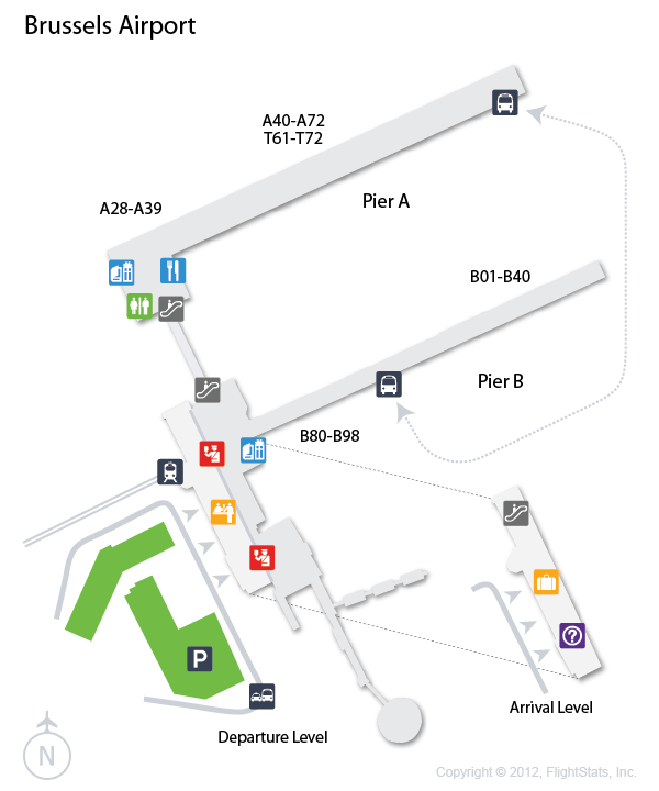 BRU Brussels Airport Terminal Map Airports Pinterest - Brussels airport map