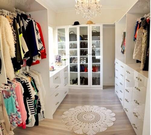 Beautiful Walk In Closet For A Master Bedroom Big But Not Too Big White And Bright And Light