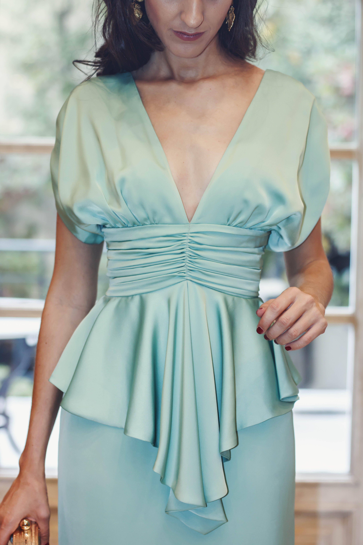Look invitada boda vestido largo Cherubina diadema dorada | Vestidos ...