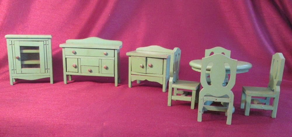 Lot Of 8 Vintage WOODEN DOLLHOUSE FURNITURE Lovely DINING ROOM Pie Safe BUFFET