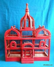 Large Vintage Dome Top Taj Mahal Style Wood & Wire Bird House Cage Birdhouse 19""