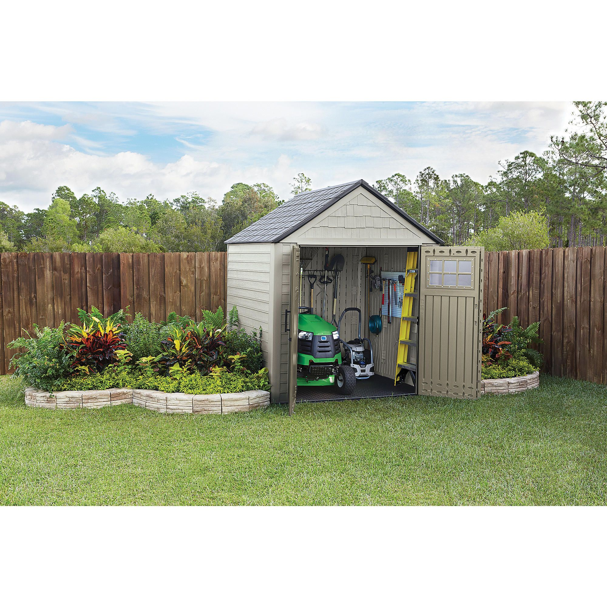 Attractive and practical the Rubbermaid 7 x7 Outdoor Resin Storage
