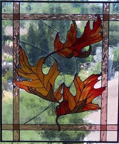 Autumn Leaves Stained Glass. Very nicely designed and made.