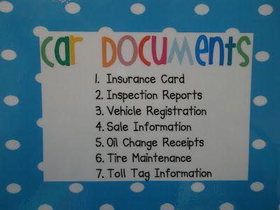Car documents organization