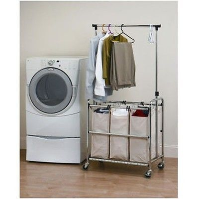 Laundry Sorter Hamper Cart Adjustable Hanger Bar Room Organization