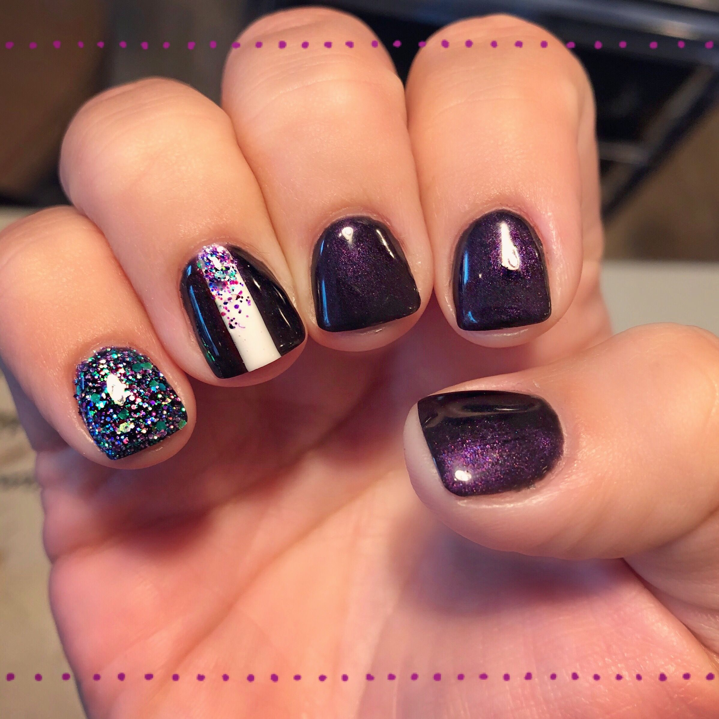 Dark purple glitter nail art gel manicure | Nail art | Pinterest ...