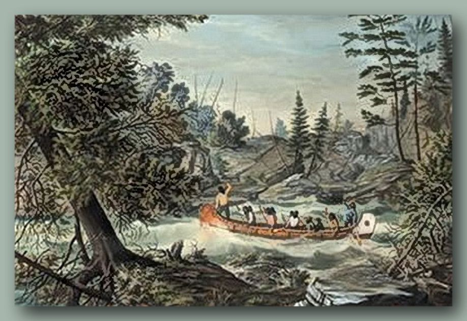 Voyageurs Coer de Bois on a Canadian northwest river by artist - Peindre Des Portes En Bois